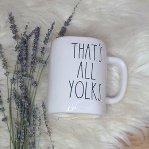NWOT Rae Dunn Thats All Yolks mug yellow inside